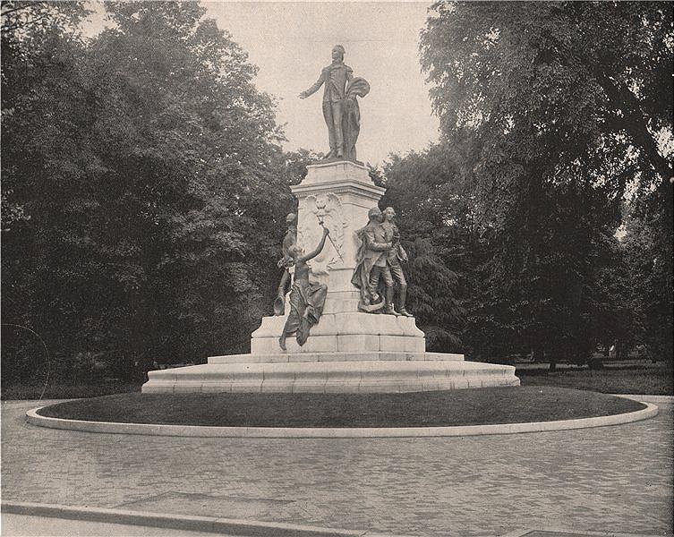 Associate Product Statue of Gilbert du Motier, Marquis de Lafayette, Washington DC 1895 print
