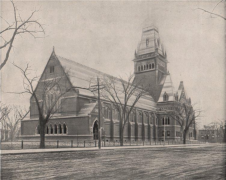 Associate Product Memorial Hall, Cambridge, Massachusetts. Harvard University 1895 old print