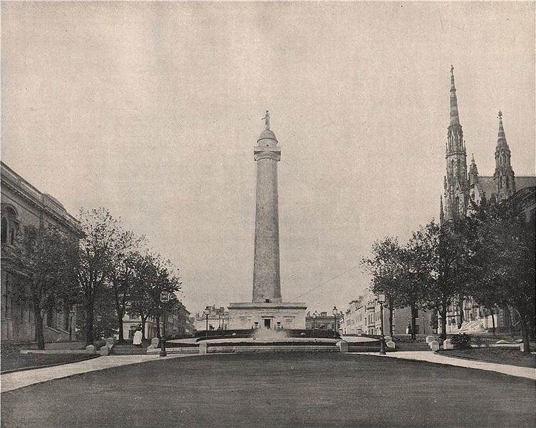 Associate Product Washington Monument, Baltimore, Maryland 1895 old antique print picture