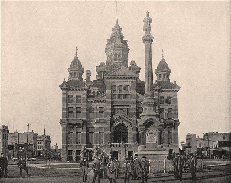"Winnipeg's second ""Gingerbread"" City Hall. Manitoba, Canada 1895 old print"
