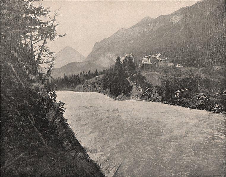 Associate Product Bow River Rapids, Banff, Northwest Territory, Alberta 1895 old antique print