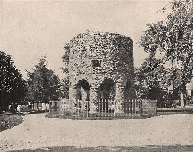 """Associate Product Round """"Norse"""" Tower/Old Stone Mill, Touro Park, Newport, Rhode Island 1895"""