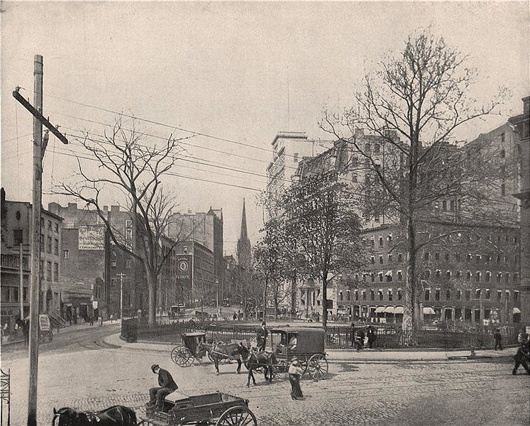 Associate Product Bowling Green, Lower Manhattan, New York City 1895 old antique print picture