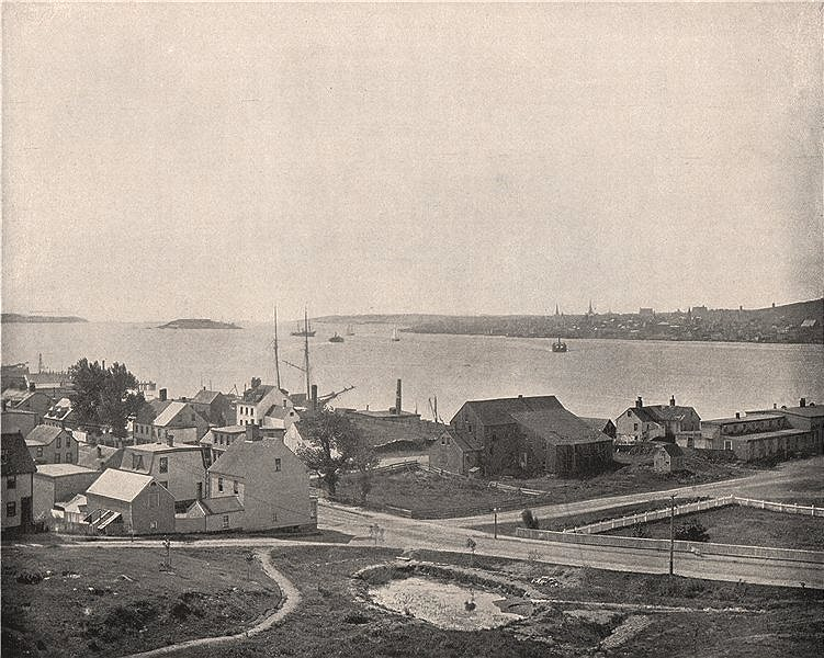 Associate Product Halifax Harbour seen from Dartmouth, Nova Scotia, Canada 1895 old print