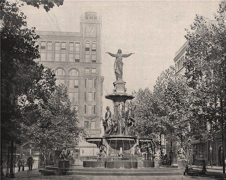 Associate Product Fountain Square, Cincinnati, Ohio 1895 old antique vintage print picture