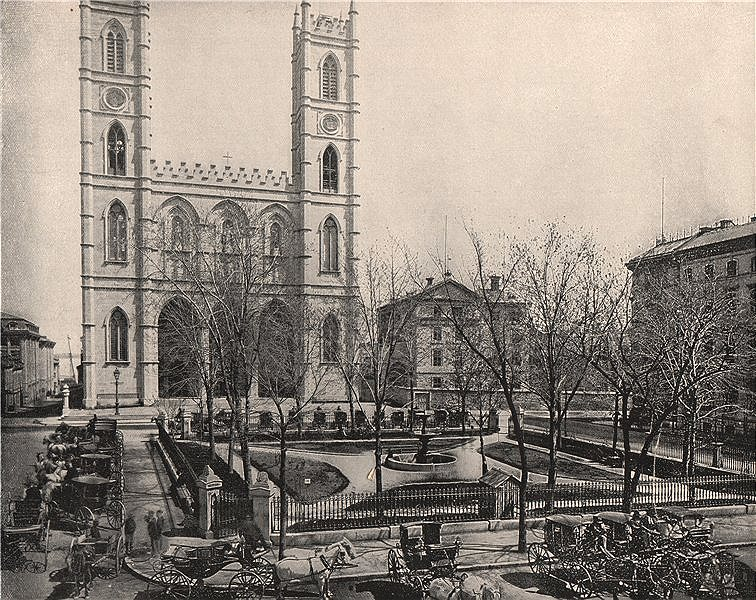 Associate Product Place d'Armes, Montreal, Canada, Quebec 1895 old antique vintage print picture