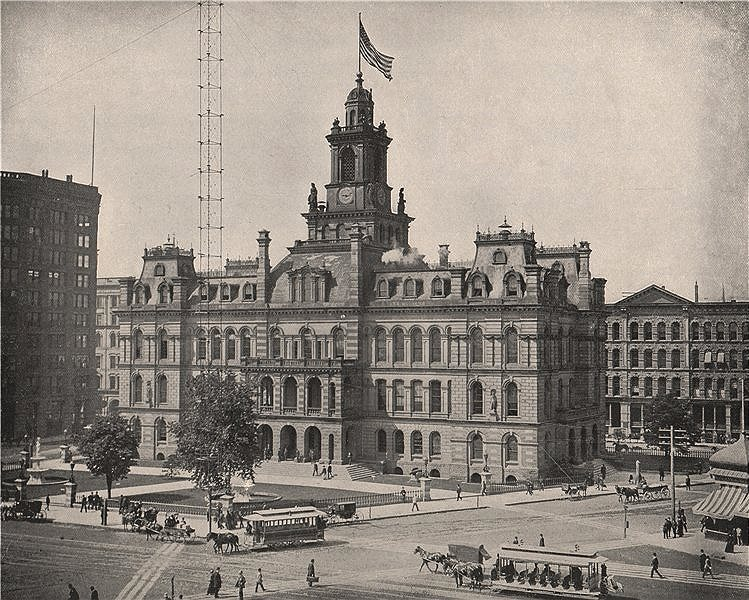 Associate Product The old City Hall, Campus Martius, Detroit, Michigan. Demolished 1961 1895