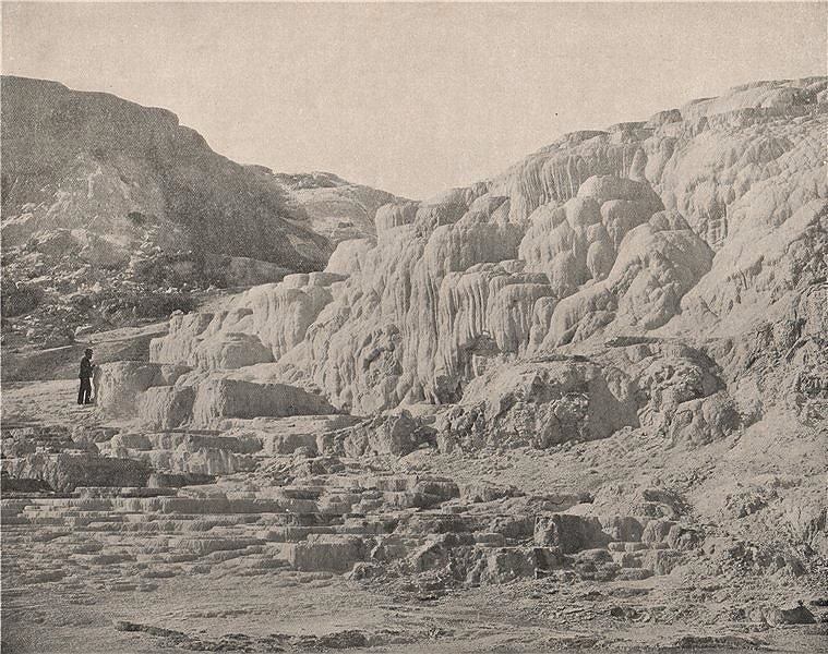 Associate Product Minerva Terrace, Mammoth Hot Springs, Yellowstone Park, Wyoming 1895 old print