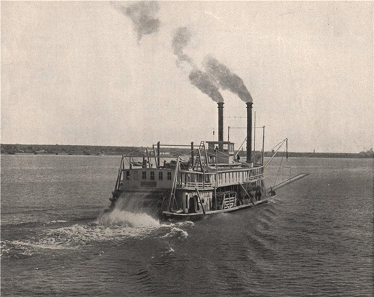 Associate Product Steamboat on the Mississippi, Mississippi River. Paddle steamer 1895 old print