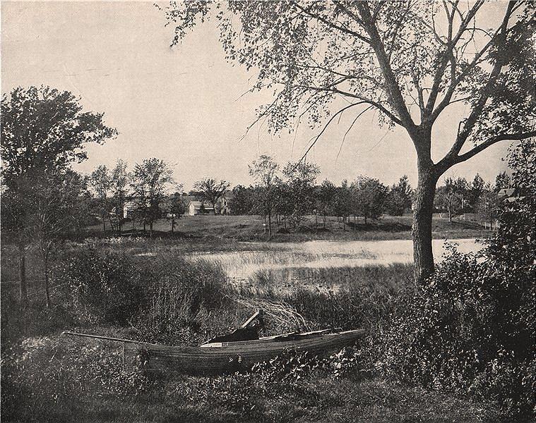Associate Product A bay of Lac La Belle, Oconomowoc, Wisconsin 1895 old antique print picture