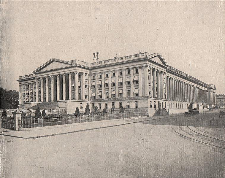 Associate Product US Treasury Building, Washington DC 1895 old antique vintage print picture