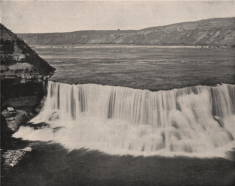 Associate Product Missouri River, near the Great Falls, Montana 1895 old antique print picture