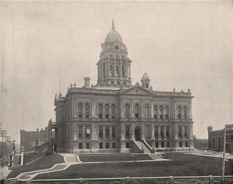 Associate Product Douglas County Courthouse, Omaha, Nebraska 1895 old antique print picture