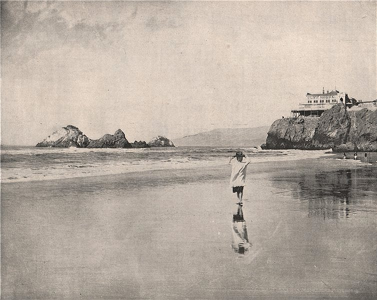 Associate Product Cliff House and Seal Rocks, San Francisco, California 1895 old antique print