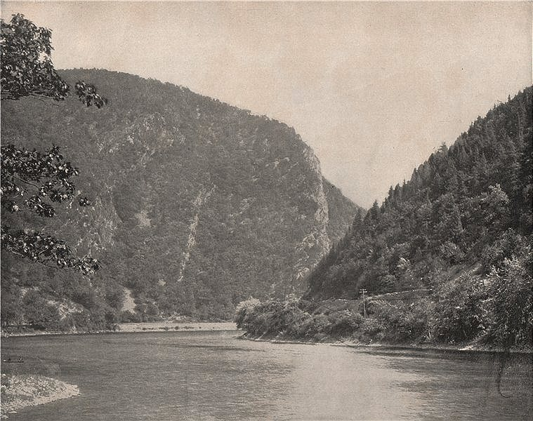 Associate Product Gorge in the Delaware river, Monroe County, Pennsylvania 1895 old print