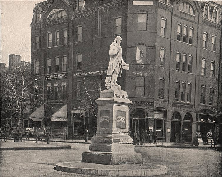 Associate Product Statue of Benjamin Franklin, Washington DC 1895 old antique print picture