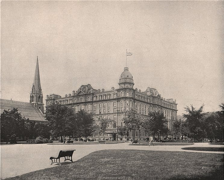 """The Windsor Hotel, Montreal, Canada. Now """"Le Windsor"""" Building 1895 old print"""