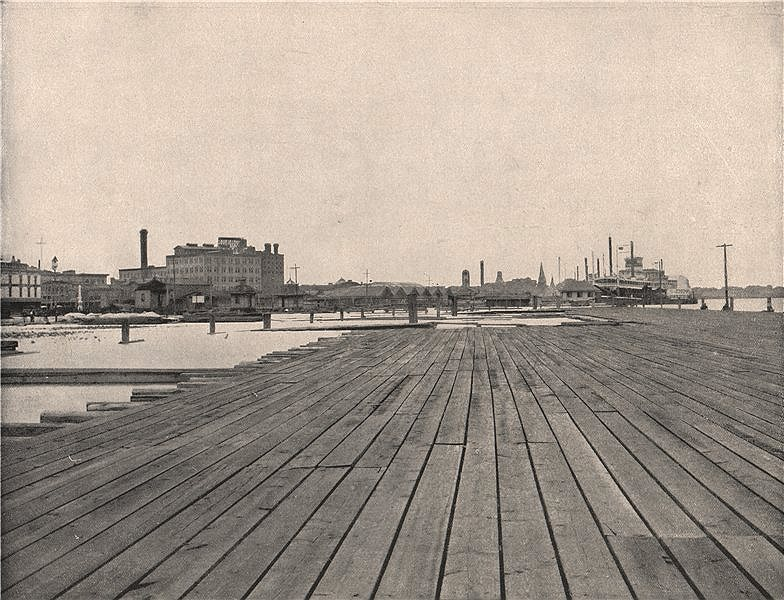 Associate Product Dam and steamboat jetty, New Orleans, Louisiana 1895 old antique print picture