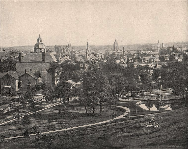 Associate Product St. Paul from Merriam Park, Minnesota 1895 old antique vintage print picture