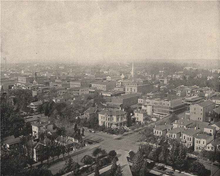 Associate Product Sacramento from the dome of the Capitol. California 1895 old antique print