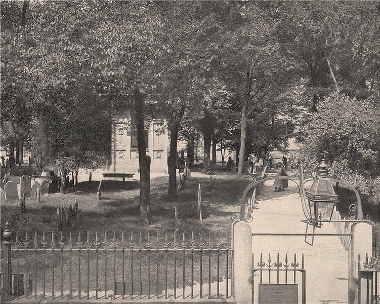 Associate Product Cemetery Hill Copp's Hill Burying Ground, Boston, Massachusetts 1895 old print