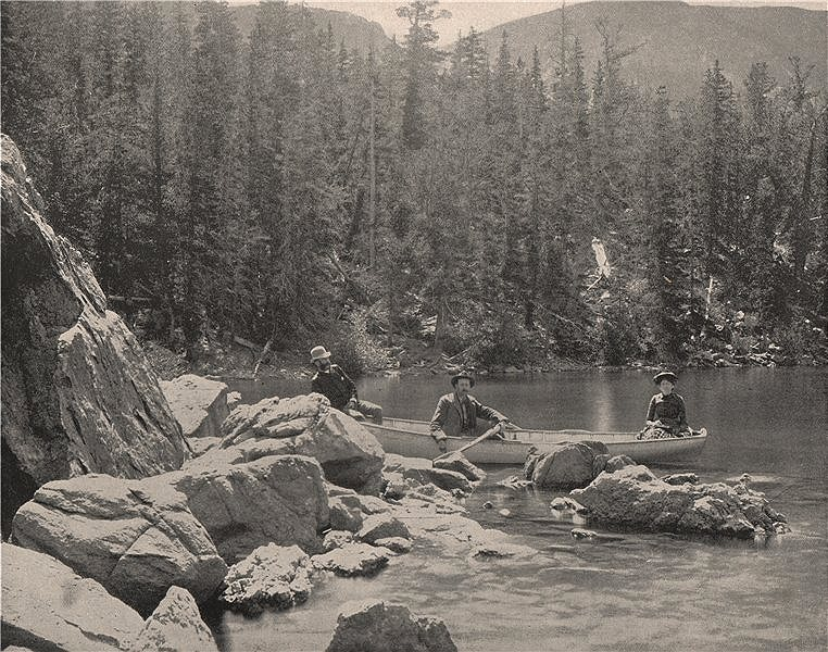 Associate Product Fen Lake, near Georgetown, Colorado. Rowing boat. Canoe with passengers 1895
