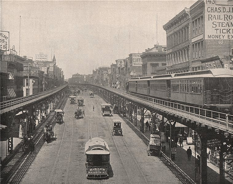 Associate Product Bowery looking north with the Third Avenue Elevated railway, New York City  1895