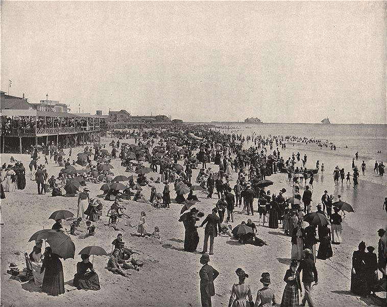 Associate Product The beach in Atlantic City, New Jersey. Many people. Parasols 1895 old print