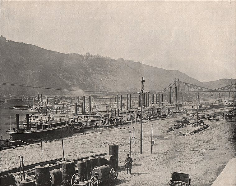 Associate Product The Monongahela Wharf Landing, Pittsburgh, Pennsylvania. Paddle steamers 1895