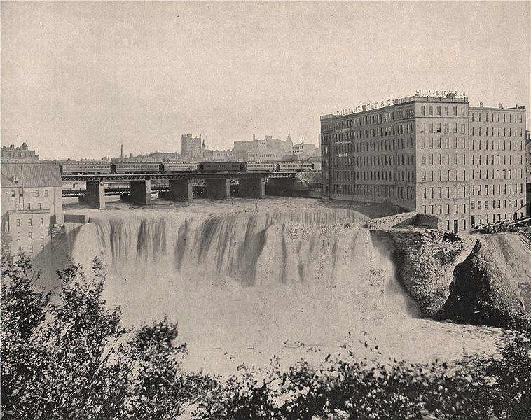 Associate Product Upper Falls of the Genesee River, Rochester, New York 1895 old antique print