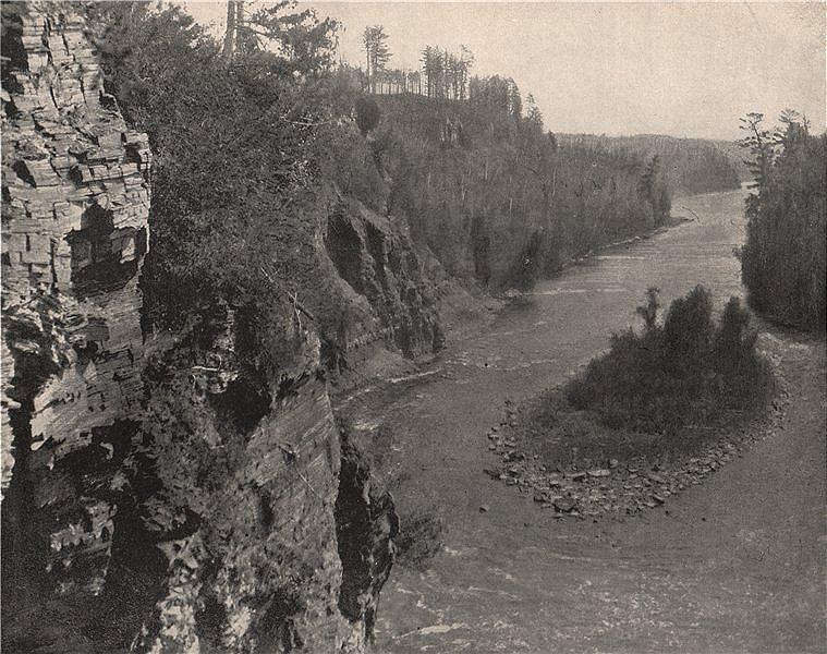 Associate Product Kaministiquia River downstream of Kakabeka Falls, Ontario 1895 old print