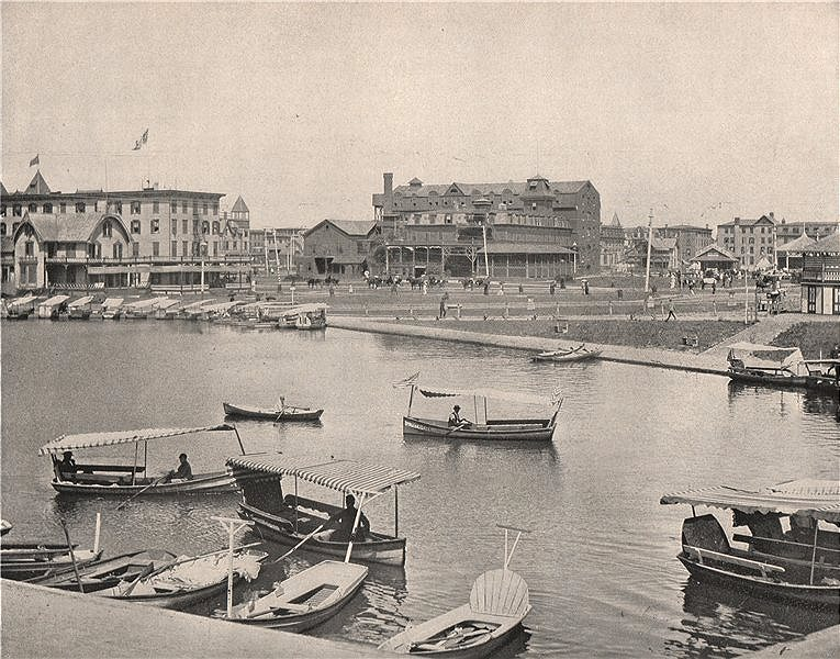 Associate Product Wesley Lake, Asbury Park, New Jersey 1895 old antique vintage print picture