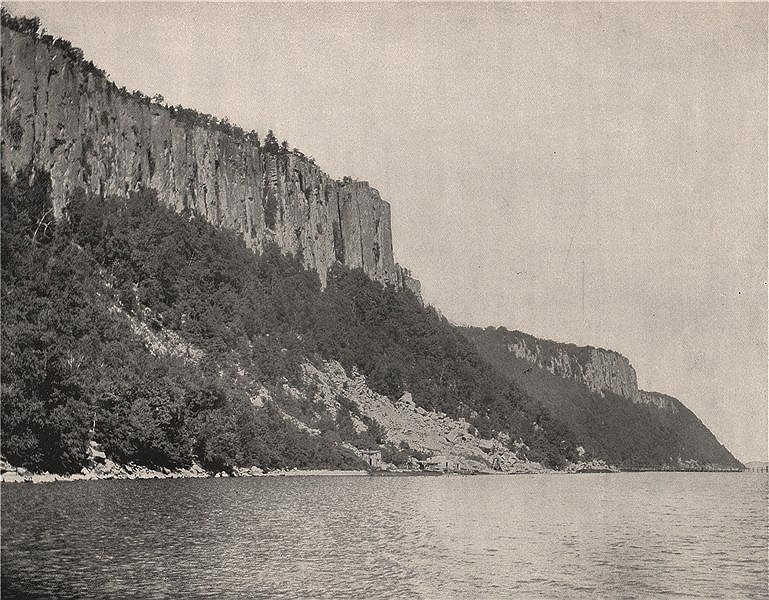 Associate Product North end of the Palisades on the Hudson River, New York 1895 old print