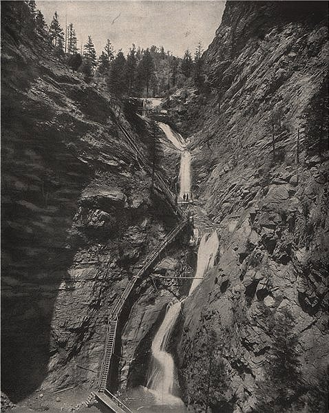 Associate Product Seven Falls, South Cheyenne Creek, Colorado 1895 old antique print picture