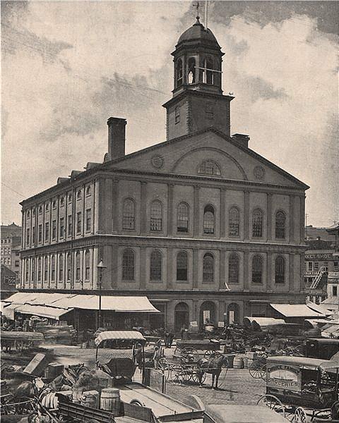 Associate Product Faneuil Hall, Boston, Massachusetts. Horses & wagons. Markets 1895 old print