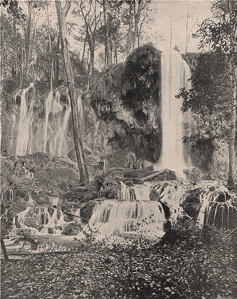 Associate Product Deer Lick Falls, Mineral Springs, Virginia 1895 old antique print picture