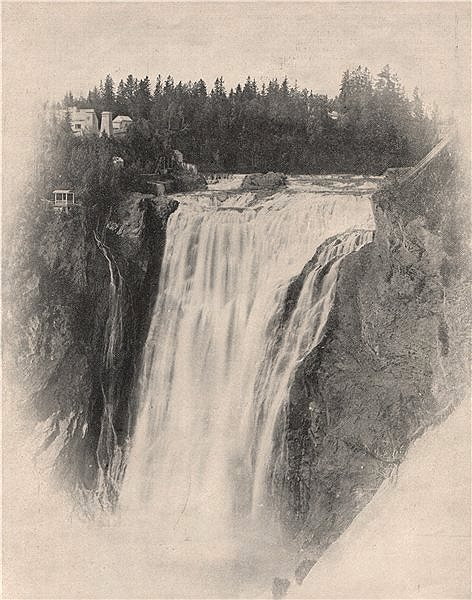 Montmorency Falls, Quebec, Canada 1895 old antique vintage print picture