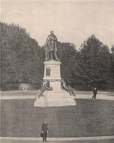 Associate Product President James A Garfield Monument, Washington DC 1895 old antique print