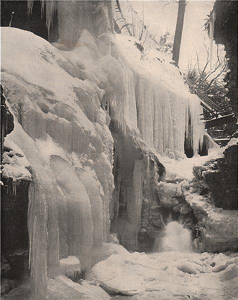 Associate Product Rainbow Falls in winter, Watkins Glen, New York 1895 old antique print picture