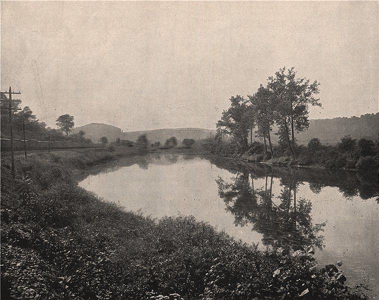 Associate Product Conemaugh River near Lacolle Mine (Bolivar), Pennsylvania. Railroad 1895 print