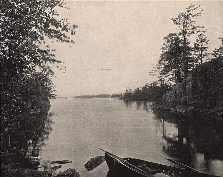 Among the Thousand Islands in the St. Lawrence, North America 1895 old print