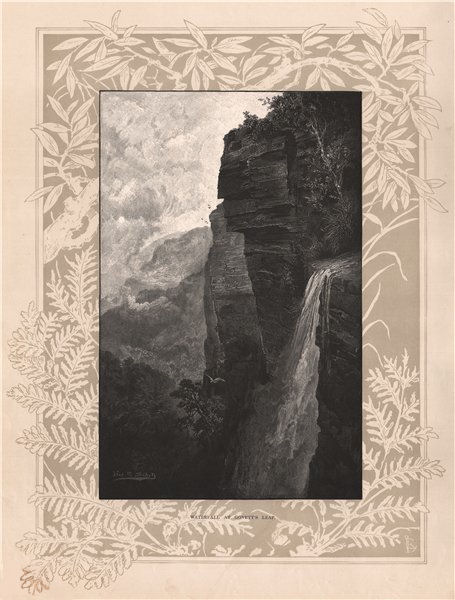 Associate Product Waterfall at Govett's Leap. BLUE MOUNTAINS. Australia 1888 old antique print