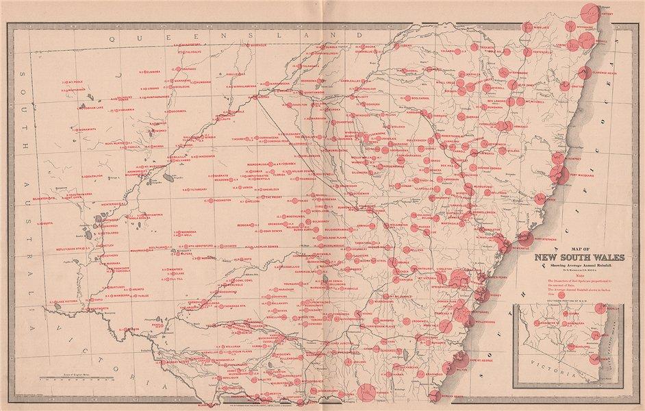 Associate Product NEW SOUTH WALES with average annual rainfall. BIG.Australia. MACDONALD 1888 map