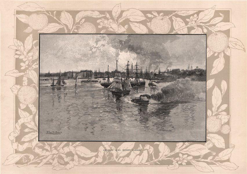 Associate Product CIRCULAR QUAY, Sydney Harbor. SYDNEY. Australia 1888 old antique print picture