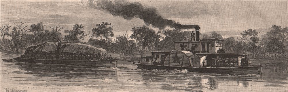 Associate Product Wool Barge on the DARLING RIVER. New South Wales. Australia 1888 old print