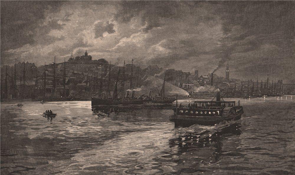 Associate Product DARLING HARBOUR. Night Scene. Sydney. Australia 1888 old antique print picture