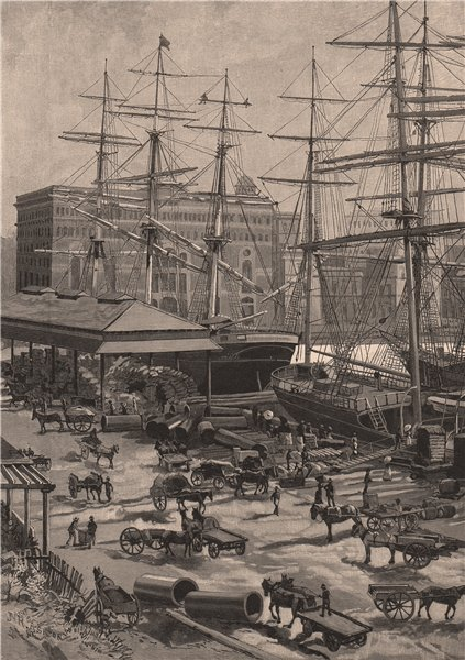 Associate Product Shipping, CIRCULAR QUAY, SYDNEY. Australia 1888 old antique print picture