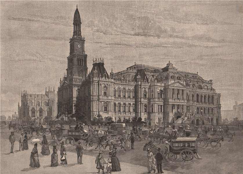 Associate Product The Town Hall and St. Andrew's Cathedral. SYDNEY. Australia 1888 old print