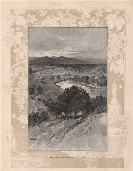 Associate Product The Windings of the Murray at ALBURY. New South Wales. Australia 1888 print