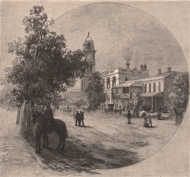 Associate Product Peel Street, TAMWORTH. New South Wales. Australia 1888 old antique print